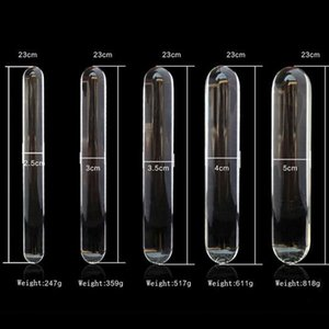Dildo Gay Heads Butt Nettoyer Double Plug Dildo et Sanitary Glass Verre 23 cm Cristal Anal Anal Anal Perles Anal Fake Glass Sex Toys Y191213 Fvhow