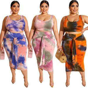 Passende Produkte Ensemble Femme 2 Stück Crop Top-Frauen-Rock-Set Plus Size Zweiteilige Sets Rosa Kleidung Plus Size 2-teiliges Set Frauen T200528