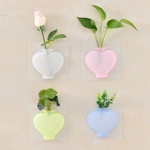 Magic Flower Plant Vases Container Silicone Sticky Vase Stick on The Wall Flower Pot for Home Offices Decor