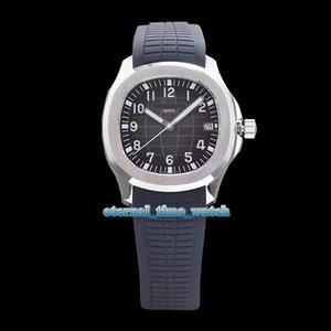 Melhor Edição AQUANAUT 5167A-001 Black Dial Cal.324 S C Automático Mecânica Mens Watch Aço Prata Caso Preto Rubber Strap Esporte Relógios