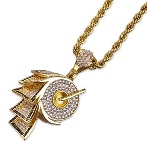 18K Gold Plated Roll Paper Style Pendant Necklaces Exquisite Fashion Men Women Grade Quality Bling Zircon Hip Hop Necklaces