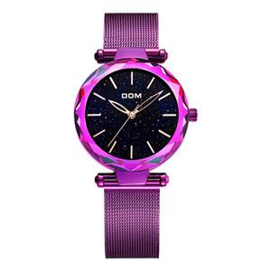 DOM Marke Luxuxfrauen-Quarz-Uhren Art und Weise beiläufige weibliche Armbanduhr wasserdicht Stahl-elegante schwarze Uhren Damen G-1244BK-1M