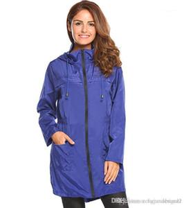 جيب موضة أنثى لباس المرأة الصلبة مصمم اللون سميكة خندق معاطف كم طويل مقنع أزياء سحاب