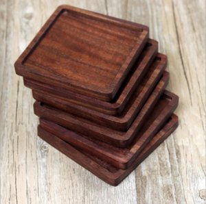 Solid Wood Coasters Coffee Tea Cup Pads Insulated Drinking Mats Black walnut Teapot Table Mats home desk Mats Decoration CFYZ356Q