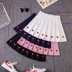 2020 New Women Pleated Skirt EmbroiderySkirts Women's Clothing Style Heartshaped Cotton Quality Love Kawaii Skirt Female