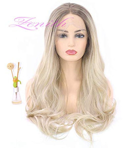 Diseño 2019 Parte delantera sin defectos Parte media Platinum Blonde Lace Pelucas delanteras con raíces Light Brown Rooted Dirty ombre Blonde front lace wig