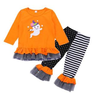아이들 소녀 할로윈 의류 오렌지 긴 소매 유령 인쇄 탑 스트라이프 메쉬 플레어 바지 아이들이 할로윈 디자이너 옷 여자 의상