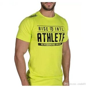 Atleta para hombre subida verano camiseta ocasional Diseñador Masculino Crew algodón gimnasia atlética cuello aptitud tee Nxkse