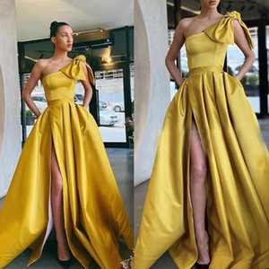 Elegant Evening Dresses One-Shoulder High Side Split Lace Satin Prom Gowns 2020 Custom Made Sweep Train A Line Special Occasion Dress