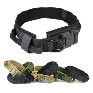 """Collar 1.5"""" Coleira de cão Dever Largura Nylon pesado Dog tático ajustável com alça de controle de liberação rápida fivela de metal para o treinamento do cão"""