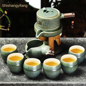 Shangyanfang jogo de chá automático criativo grosso preguiçoso cerâmica bule Cup nivelado kung fu cerâmica cerâmica Stone Mill chá set
