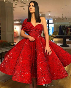 Elegant Red Tea Length Short Prom Dresses 2020 One Shoulder Backless Sequined Draped Short Homecoming Cocktail Party Evening Gowns Customize