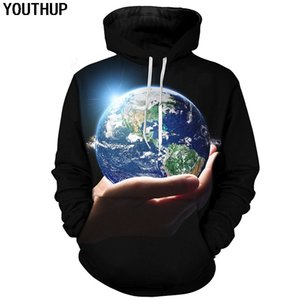 YOUTHUP New Men 3d Hoodies Earth on Hand 3d Print Cool Funny Hooded Hoodies Unisex Sweatshirts Hipster Pullover Plus Size