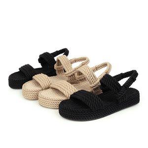 Lilyptuart 2020 Tamaño Grande 43 en la venta de calidad superior Gladiador cáñamo plana resbalón en los zapatos de las sandalias de la paja del verano mujeres mujer CX200618
