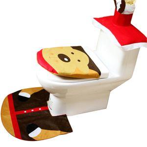 새로운 디자인 크리스마스 장식 홈 욕실 세 조각 화장실 키트 엘크 변기 뚜껑 커버 발 패드 깔개 조직 상자