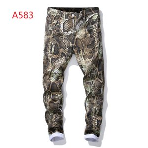 Pop2019 Personality Pattern The Spring And Summer. Man Wash Printing Self-cultivation Trend Directly Cuffless Trousers Charm Time Jeans