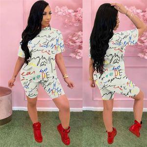 Women Two Piece Summer Outfits Pants Set Ladies Designer Fashion Suits Letter Printed Solid Color Suits