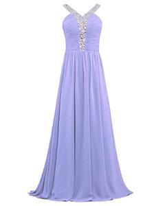 Beaded Chiffon Long Bridesmaid Dresses with spaghetti straps 2019 Lavender Pink Black Long Formal Evening Dress
