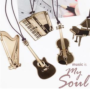 악기 북마크 골든 메탈 크리 에이 티브 북마크 웨딩 뮤직은 내 영혼 트럼펫 바이올린 Accordin Harp 기타 피아노