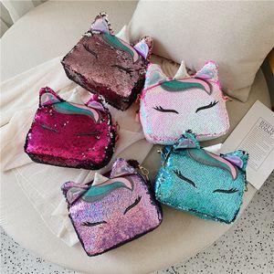 6styles Fasion Sequin unicorn flap Baby Girl Messenger crossbody Bag wallet Cartoon girl Kids Shoulder Bag Boutique Coin Purse handbag tote