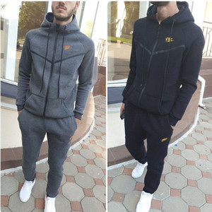 Fall winter Men brand tracksuit long sleeve fleece sweatsuit hooded outerwear+Pants 2pcs set Casual sportswear Outfits Jogging Suit 2500