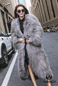 Mode-real Mongolei Schaf-Pelz-Mantel Frauen mit Karacho Schaf-Pelz-Jacke sehr langer Mantel angepasst und Größe F0950