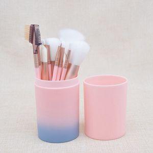 12pcs Maquillage Pinceaux pour la Fondation Ombres à paupières Eyeliner Lip surligneur cosmétiques Outils Brosse avec boîte en plastique RRA1919