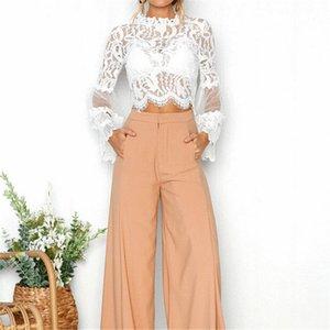Sexy Frauen Blumenspitze O Ansatz Tops Langarm-Shirt beiläufige dünne weiße Mesh-Bluse Damen Summer Cool Crop Tops