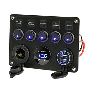 5 Gang crogiolo di automobile Dual USB Charger Socket LED del voltmetro 12V Presa di corrente ON-OFF Toggle Interruttore Panel per auto marina del crogiolo RV Truck