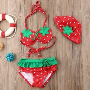 3pcs Bikini 2019 Strawberry Bikini Kid Fille Maillots de bain Maillot de bain Summer Holiday Casual Bandage mignon avec le chapeau Beachwear