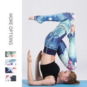 High Waisted Water Ink Printing Womens Sportswear Slim Yoga Pants Fitness Sport Leggings Elastic Long Tights for Running Tummy