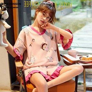 Verão mulheres pijama estilo japonês kawaii sakura Momoko imprimir calções folho pijamas set algodão sleepwear conjunto pijama