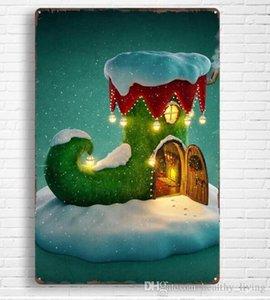 Natale Vintage metallo Targhe in metallo per la pittura della decorazione della parete di natale di arte della parete del metallo del ferro Segni Tin Plate Bar Bar Garage decorazione domestica 023