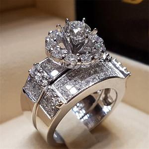 Klasik Romantik Promise Ring setleri 925 Ayar gümüş Elmas Nişan düğün band yüzük kadın erkek Takı için Hediye
