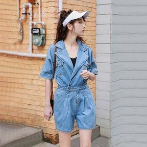Sexy Women Blue Jeans Bodysuit half Sleeve One Piece Pants Denim Playsuits Cotton Rompers Women Bandage Short Jumpsuit Overalls T200704