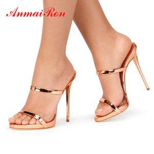 Pelle ANMAIRON brevetto Solid scarpe fuori estate donne designer Pantofole Donne Super High Thin Tacchi Sandali 34-43