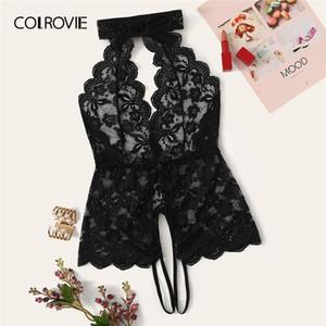 COLROVIE nero floreale pizzo smerlato Trim Cut-out Teddy Body Donne 2019 sexy di nuovi elastico puro Solid Sleepwear CX200704