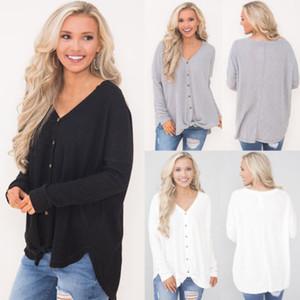 2019 Pulsante della signora Knit del manicotto dei vestiti lunghi camicia della parte superiore camicetta cappotto donne della signora Knitted Outwear nuova