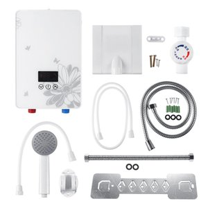 Instant Hot 7000W 220V Electric Hot Water Heater Tankless Instant Boiler Bathroom Shower Set Thermostat Safe Intelligent Automatically