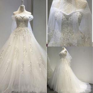 Роскошное бальное платье свадебное платье с плечевой аппликации вышивка с кристаллическими бусинами свадебные платья Саудовская Аравия Vestidos de Novia