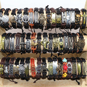 Mens Vintage Cross Jesus Love Animal Etc Mix Style Leather Metal Charm Bracelets Adjustable Cuff Bangle Wristband For Women Gifts Jewelry