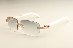 2019 новый алмаз роскошь моды ультра легкие очки T3524015-1 естественные белые рожки очки гравированные линзы бесплатная доставка