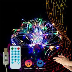 BRELONG 10M 100LED 5 M 50LED musique induction lumière de la chaîne de commande à distance de fil de cuivre 8 fonction guirlande lumineuse de vacances imperméable à l'eau