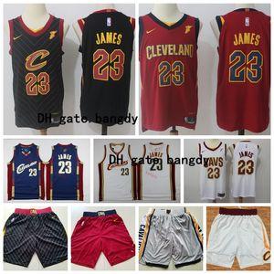 Retro Mens ClevelandCavaliersThrowback Jerseys LeBron 23 James Stitched Basketball Shorts Basketball Jerseys Red White Blue Stock