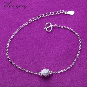 Anenjery Hot Fashion Bracelet en argent 925 sterling Bracelet pour les femmes Six Claw CZ Zircon Chian Bijoux Bracelet cheville S-B133
