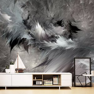 Custom Mural Wallpaper 3D Abstract Art Black And White Feathers Wall Painting Living Room Bedroom Fashion Creative 3D Wallpapers
