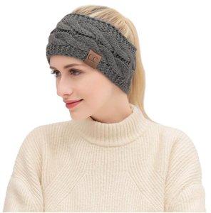 CC de punto Crochet diadema otoño invierno nuevas mujeres Deportes Headwrap Hairband Fascinator Hat Head vestido tocados para 21 colores diferentes