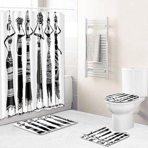 Negro / blanco 3D impreso Mujer africana cortina de ducha Conjunto Afro estadounidense Lady Baño Decoración antideslizante Alfombra WC cubierta de la tapa Alfombra de baño