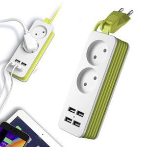 EU Plug Power Strip Wall Multiple Socket Portable 4 USB Port for Mobile Phones 1200W 250V 1.5m Cable for Smartphones Tablets