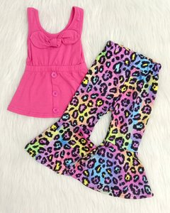 new style kids summer clothes solid color tank top match printed bell pants 2 pieces set boutique baby girl fashion outfit T200707